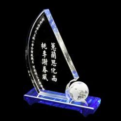 帆船水晶獎座 td27